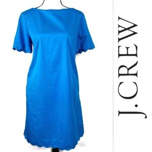 J. Crew Blue 'Josie' Scalloped Hem Shift Dress 12